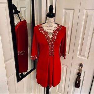 INC International Concepts Dresses - INC red dress with gold beading/studs